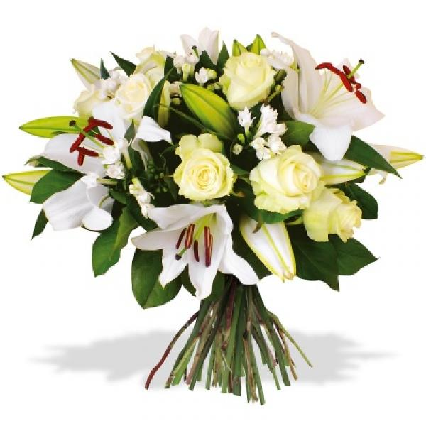 Nos bouquets roses blanches et lys blanc - Lys blanc signification ...
