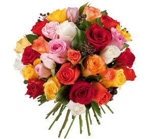 bouquet roses multicolore